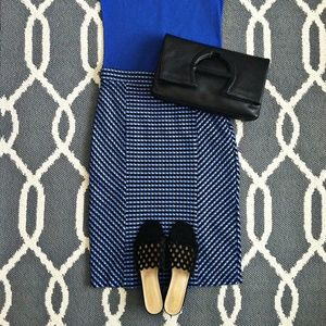 Black and Blue Maeve Checkered Pencil SkirT (NWT)
